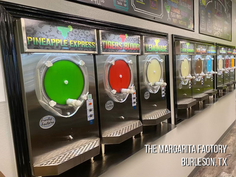 Row of Margarita Machines for Commercial Rental Use